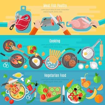 Pratos de dieta vegetariana saudável e aves de peixe de carne cozinhar em casa bandeiras planas definida
