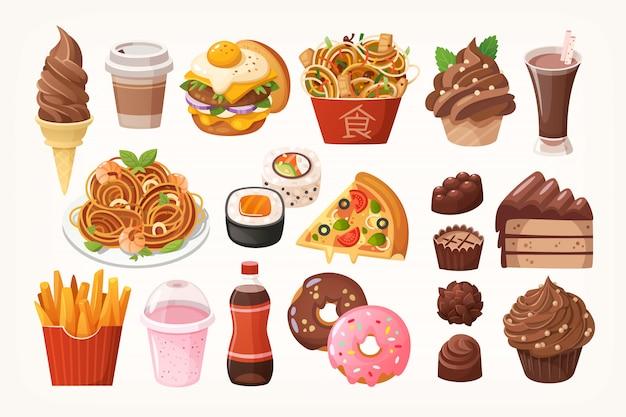 Pratos de fast food e sobremesas