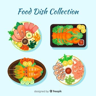 Pratos de frutos do mar embalados