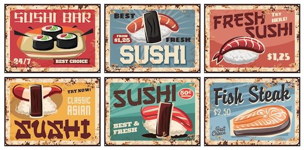 Pratos de metal de sushi ou pôsteres retrô