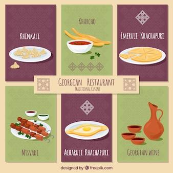 Pratos do restaurante georgiano com design plano
