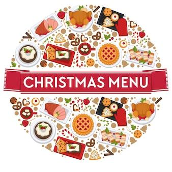 Pratos e comidas preparadas em restaurantes ou lanchonetes para comemorar o natal