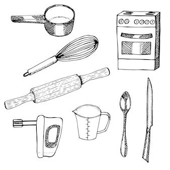 Pratos e equipamentos para assar, tigela, batedor, rolo, batedeira, copo medidor, colher, faca e fogão, esboço desenhado à mão de ilustração vetorial