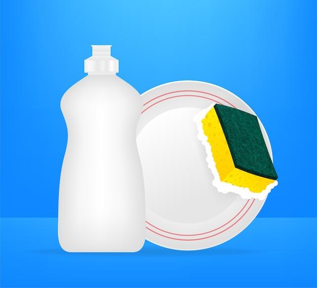 Pratos e esponja amarela