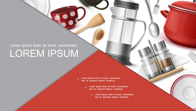Pratos realistas e conceito de utensílio com bule de chá xícaras de café, pratos de panela garfos colheres espátula pimenta