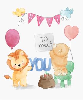 Prazer em conhecê-lo com ilustração de decoração de festa de animais fofos