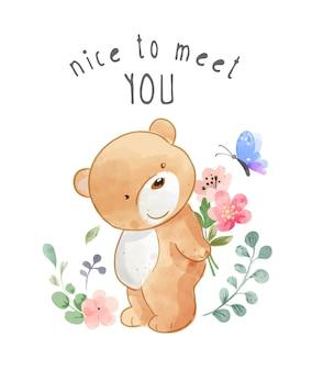 Prazer em conhecê-lo slogan com ilustração de urso e borboleta