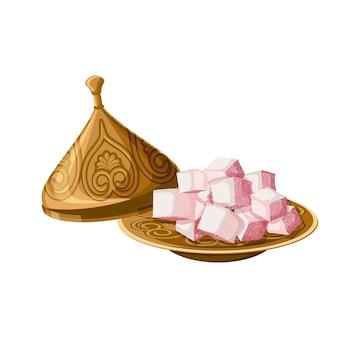Prazer turco, locum, doces tradicionais na placa de cobre decorada