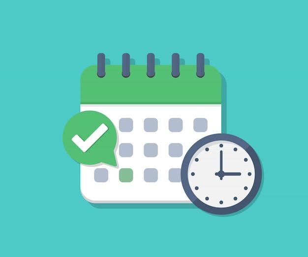 Prazo de calendário com cheque e relógio em um design plano