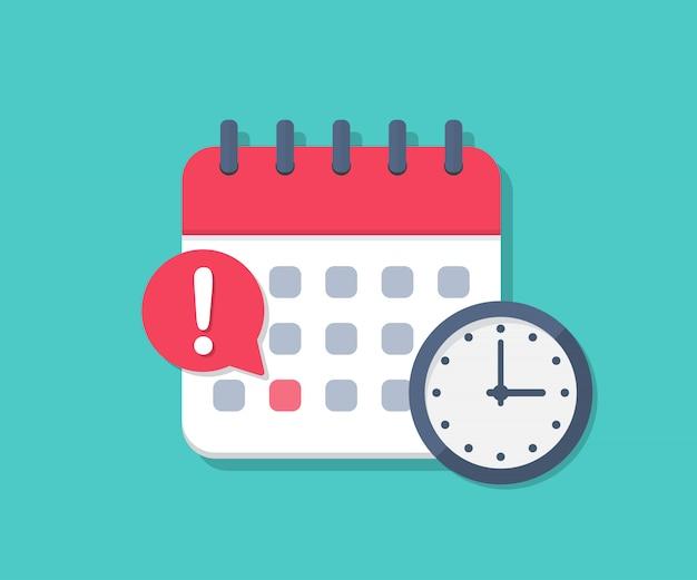 Prazo de calendário com relógio em um design plano
