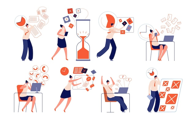 Prazo de trabalho. falha de planejamento corporativo, empresário de estresse de trabalho. conjunto de vetores de gestão de tempo de escritório ineficiente, pressão ou pânico de trabalhadores. problema de prazo, falha no plano de trabalho, ilustração de cronograma