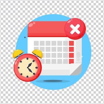 Prazo do calendário com o ícone do relógio no fundo em branco