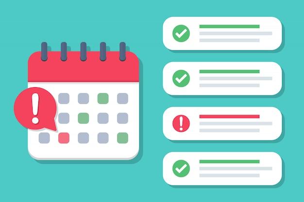 Prazo do calendário com uma lista de casos concluídos e não cumpridos em um design plano