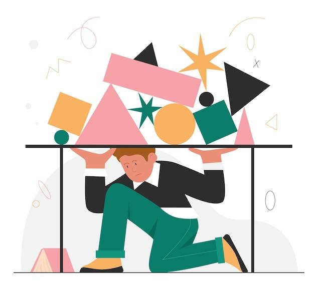 Prazo final estresse problemas de trabalho conceito de esgotamento de trabalho com trabalhador de escritório escondido embaixo da mesa