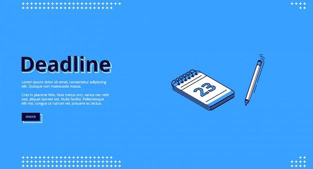 Prazo final, página de destino isométrica de gerenciamento de tempo