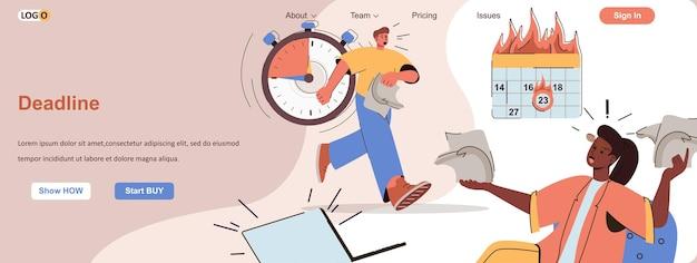 Prazo queimando conceito da web trabalhando estresse e pânico no gerenciamento de tempo de escritório