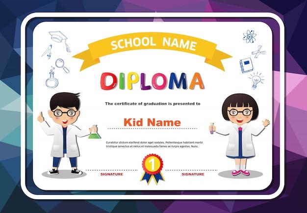 Pré-escolar meninos e meninas diploma certificado poligonal