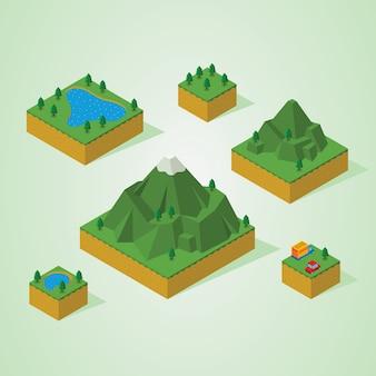 Pré montagem isométrica mapa-montanha