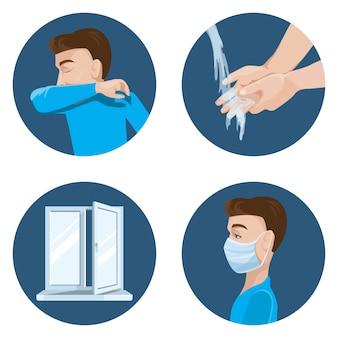 Precauções durante a propagação do vírus. espirre no cotovelo. lavar as mãos. ventile a sala. use uma máscara médica.