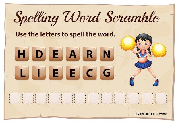 Precipitação da palavra de ortografia para palavra cheerleading