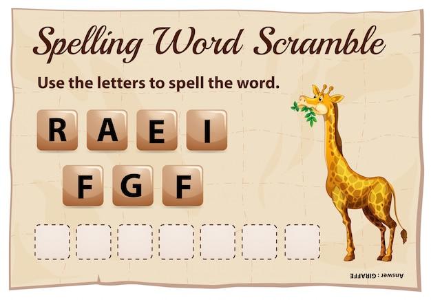 Precipitação de palavra de ortografia para girafa de palavra