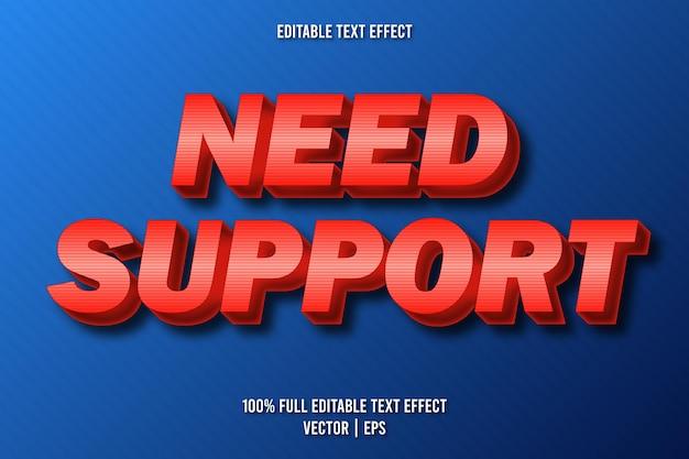 Precisa de suporte para estilo de desenho animado com efeito de texto editável
