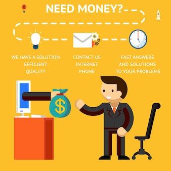 Precisa do conceito de dinheiro, mão dando dinheiro, créditos e empréstimos na internet