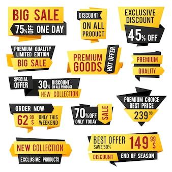 Preço, banners promocionais e etiquetas de desconto. elementos do vetor de design de apresentação de negócios. ilustração da coleção de compras de tag de modelo