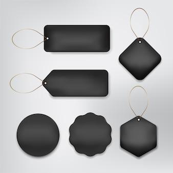 Preço da etiqueta definido cor preta