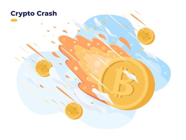 Preço das criptomoedas caem queda dos preços da criptografia no mercado de bolsa de valores crise do bitcoin o investimento em criptomoedas é de alto risco