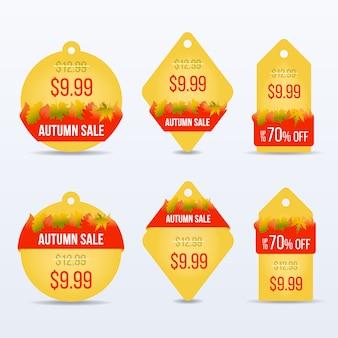 Preço de venda outono ou conjunto de etiquetas.