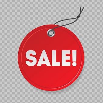 Preço de venda vermelho realista. sinal de desconto