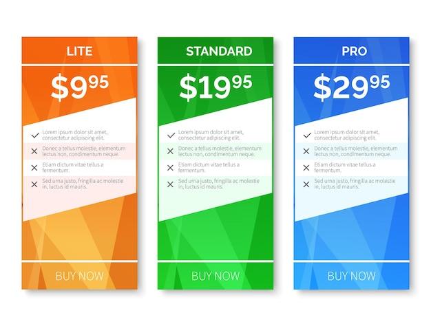 Preços com fundo poligonal. faixa de preço, etiqueta de preço da web, ilustração de preço de página em branco