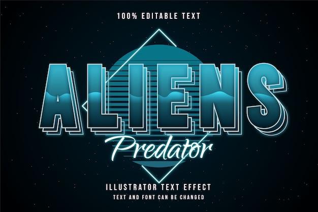 Predador de alienígenas, estilo de texto editável com efeito de texto com gradação azul e camadas de néon