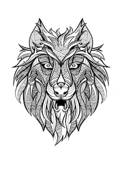 Predador de lobo vintage ornamentais