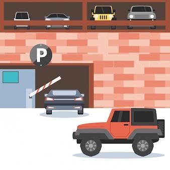Prédio com entrada de zona de estacionamento e barricada