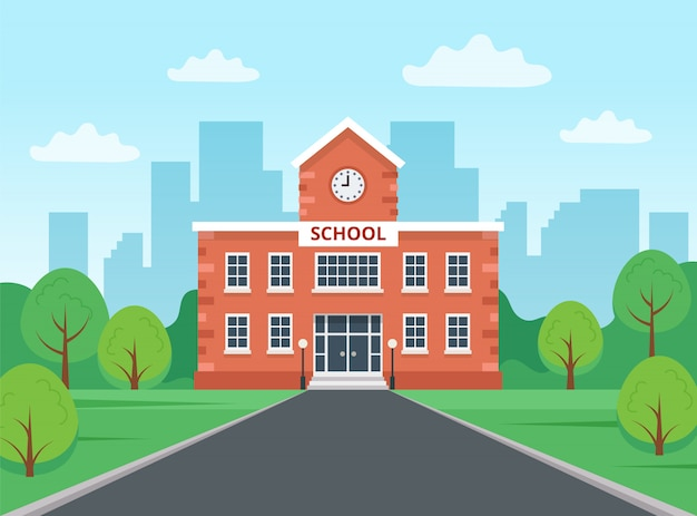 Prédio da escola com a paisagem da cidade.