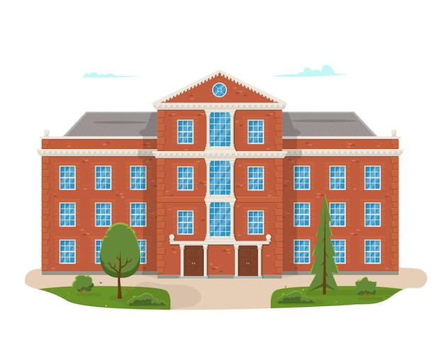 Prédio da escola com a rua. ilustração do conceito moderno de universidade