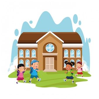 Prédio da escola e crianças felizes