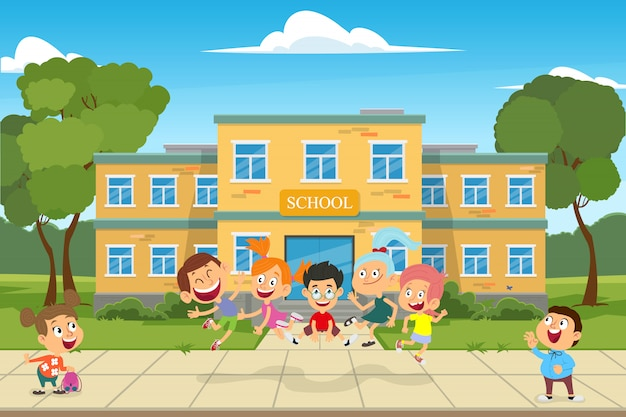 Prédio da escola e crianças no jardim da frente da escola.