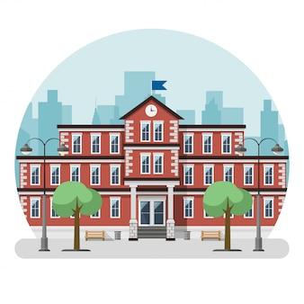 Prédio da escola em uma cidade grande. ilustração vetorial