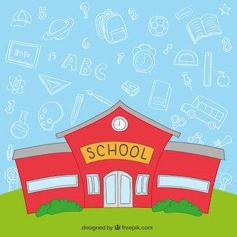Prédio da escola vermelho