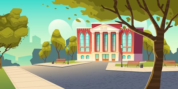 Prédio da faculdade, banner de instituição educacional