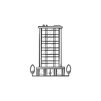 Prédio de escritórios com ícone de doodle de contorno desenhado de mão de árvores. conceito de negócios imobiliários e arquitetura urbana