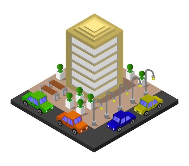 Prédio de escritórios isométrico
