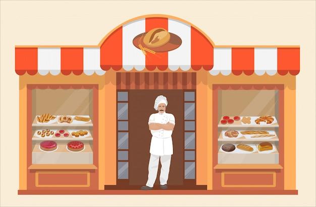 Prédio de padaria com produtos de padaria e padeiro