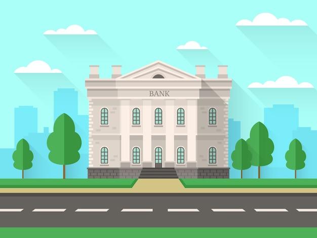 Prédio do banco. casa do governo com escritório financeiro exterior das colunas na paisagem urbana. fundo de serviço bancário