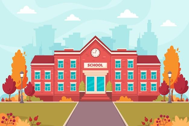 Prédio escolar de volta ao outono