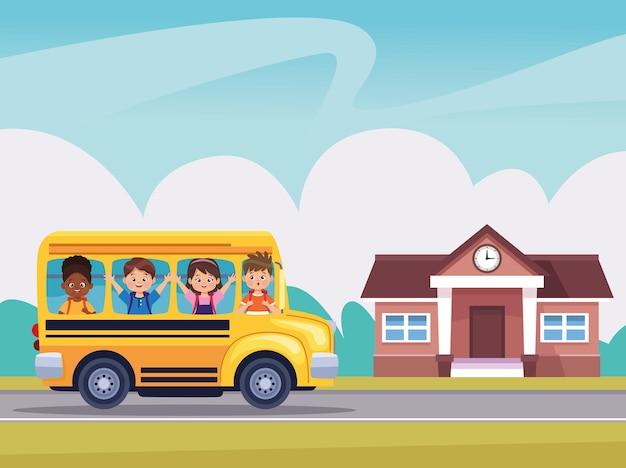 Prédio escolar e ônibus