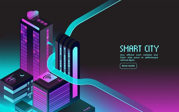 Prédio inteligente. casas inteligentes na cidade à noite. realidade aumentada 3d isométrica abstrata futurista banner